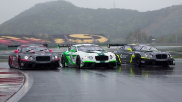 The three Bentley Team Absolute Continental GT3s